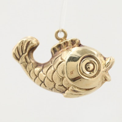 14K Yellow Gold Fish Charm Pendant