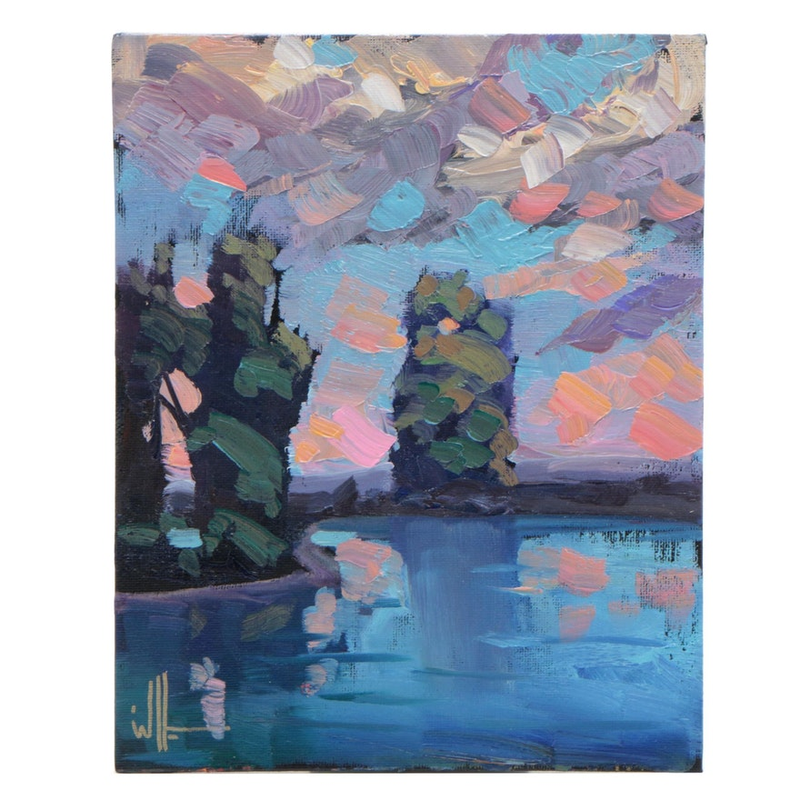 William Hawkins Landscape Oil Painting of Lake Scene