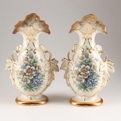 Eton Hand Decorated Porcelain Vases, 20th Century