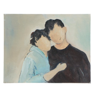 Stylized Couple Portrait Acrylic Painting