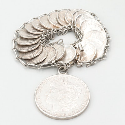 Sterling Bracelet with 1890-S Morgan Silver Dollar and Mercury Silver Dimes