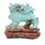 Chinese Dyed Howlite Carving of a Guardian Lion, 20th Century