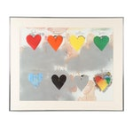 """Offset Lithograph after Jim Dine """"Eight Hearts"""""""