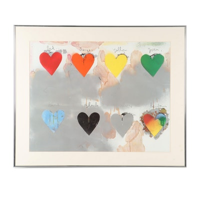 "Offset Lithograph after Jim Dine ""Eight Hearts"""
