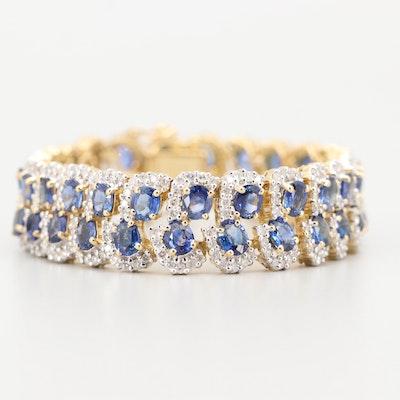 18K Yellow Gold 5.00 CTW Diamond and 18.97 CTW Sapphire Bracelet