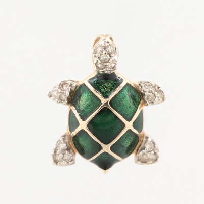 10K Yellow Gold Diamond and Green Enamel Turtle Pendant