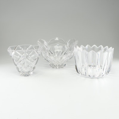 "Orrefors ""Crown"" Bowl with Other Crystal Serveware"