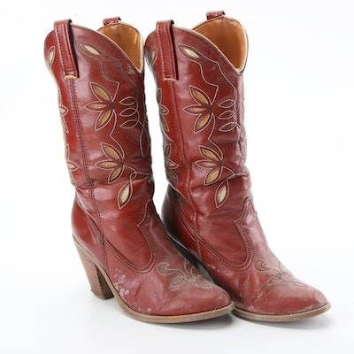 Sears Faux Leather High-Heeled Western Boots, 1970s Vintage
