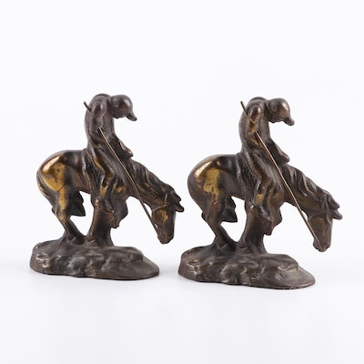 "Brass Clad Cast Iron Bookends after James Earle Fraser ""End of the Trail"""