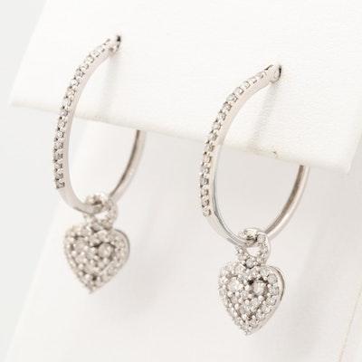 10K White Gold Diamond Heart Dangle Hoop Earrings