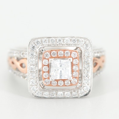 10K White Gold Cubic Zirconia Ring with Rose Gold Accents