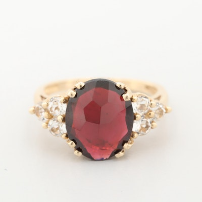 10K Yellow Gold Garnet and White Topaz Ring