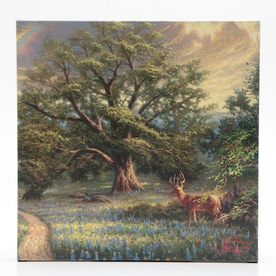 Giclee Print After Thomas Kinkade of Wooded Landscape with Deer