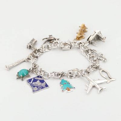 Sterling Silver Travel Theme Charm Bracelet with Glass and Enamel Accents
