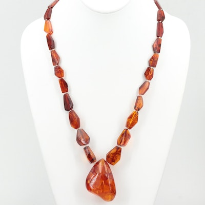 Endless Amber Beaded Necklace