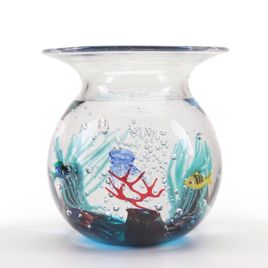 Elio Raffaeli Murano Art Glass Fishbowl