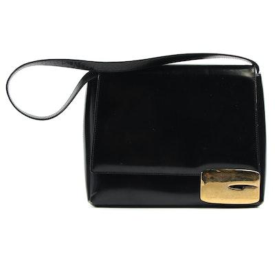 Gucci Black Patent Leather Flap Front Shoulder Bag