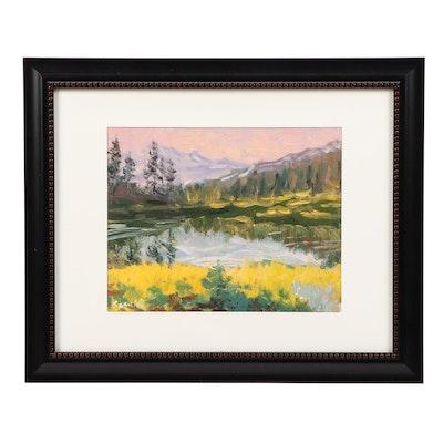 "Sean Wu Oil Painting ""Mountain Waterfalls"""