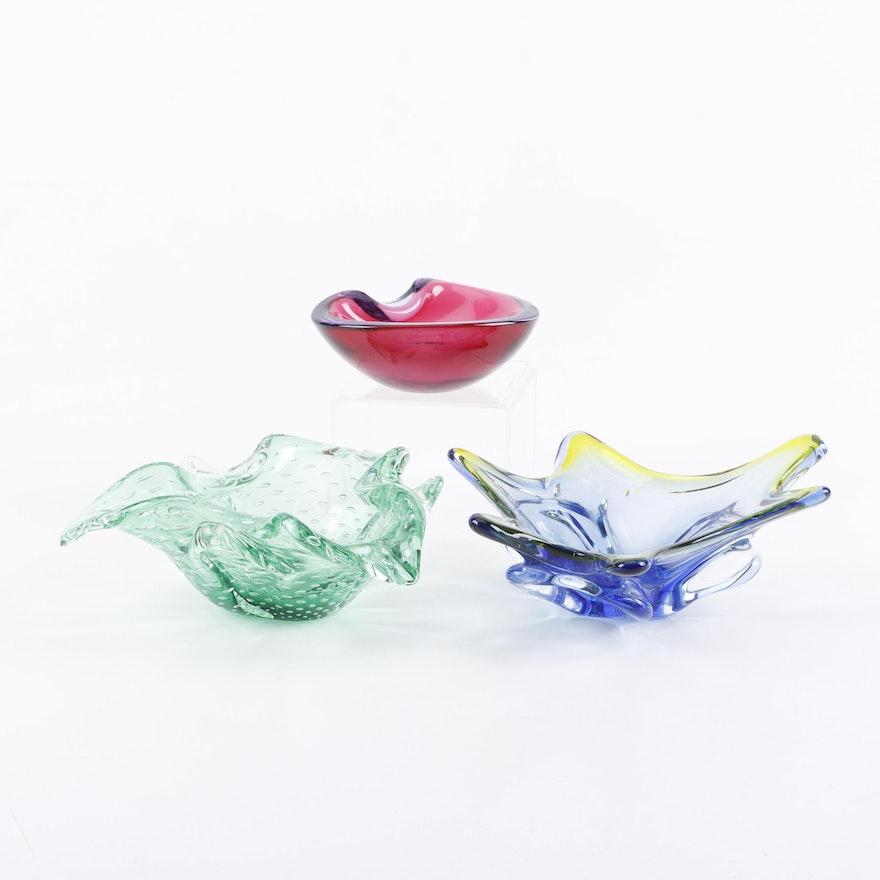 Murano Style Art Glass Dishes