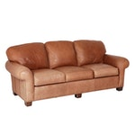 Contemporary Tan Leather Sofa by Whitmore-Sherrill