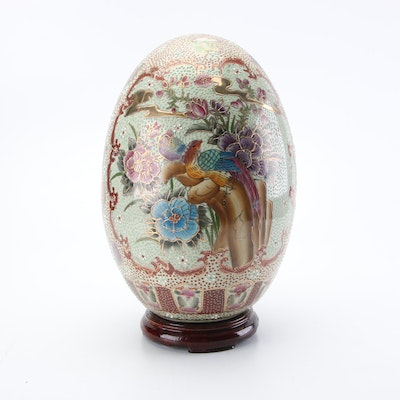 Chinese Satsuma Style Moriage Porcelain Egg with Base, Mid to Late 20th Century