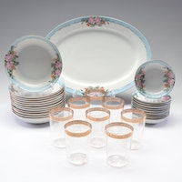 Royal Bayreuth Floral Painted Porcelain Dishes with Gold Rimmed Glasses
