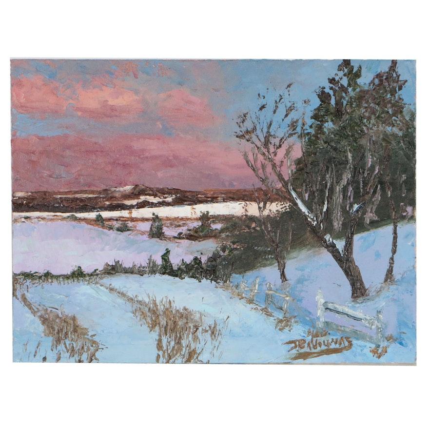 """James Baldoumas 2019 Oil Painting """"Winter Fields"""""""