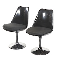 "Pair of Modway, Modernist Style Black Plastic and Metal ""Lippa"" Side Chairs"