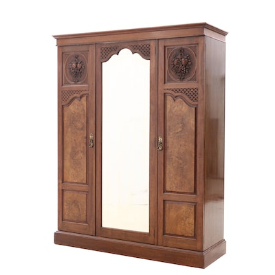 Edwardian Walnut and Burr Walnut Three-Door Wardrobe, Early 20th Century