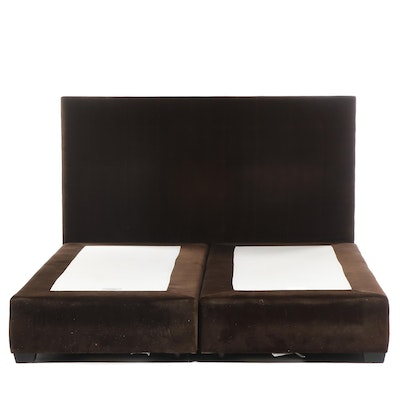 Mitchell Gold + Bob Williams King Size Brown Velvet Bed frame and Headboard