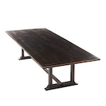 Oak Trestle-Base Dining Table, 20th Century