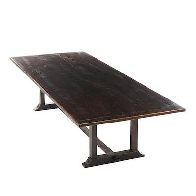 Oak Trestle-Base Dining Table, 20th Century