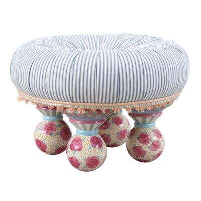 MacKenzie-Childs Limited Button Tufted Top Stool with Ceramic Legs, 1983
