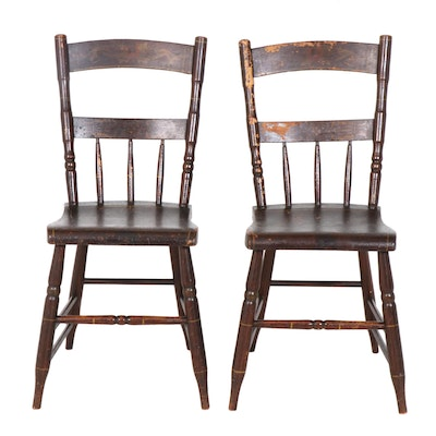 Rustic Wooden Plank Side Chairs with Stencilled Decor, Pair, Early 20th Century