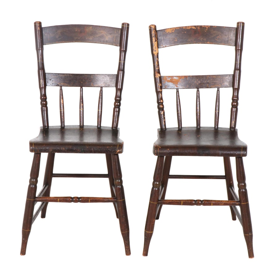 Pair of American Primitive Paint-Decorated Wooden Side Chairs, 1840s-1860s