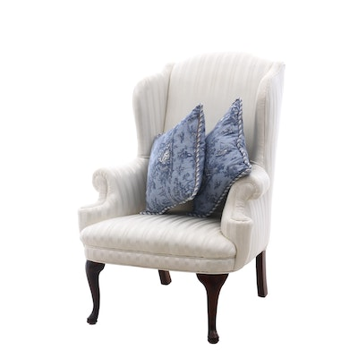 White Wing-Back Armchair