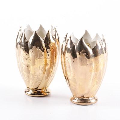 Savoy 24K Weeping Gold Glazed Floral Vases, Mid-Century