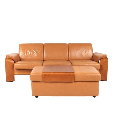 Ekornes Leather Sectional Sofa with Ottoman