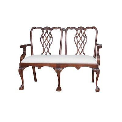 Carved Cherry Bench with Linen Upholstered Seat, Late 20th Century