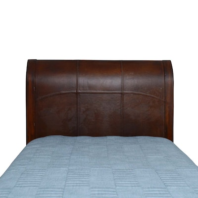 Leather and Wood Full Headboard, Contemporary