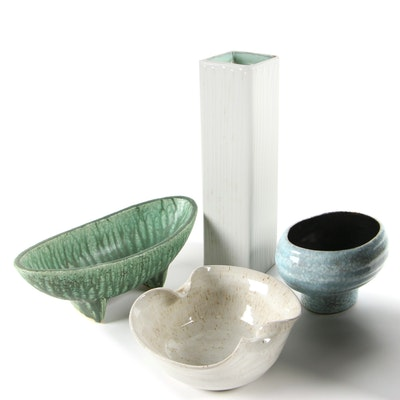 Mid Century Modern Japanese Studio Pottery Ikebana Pots