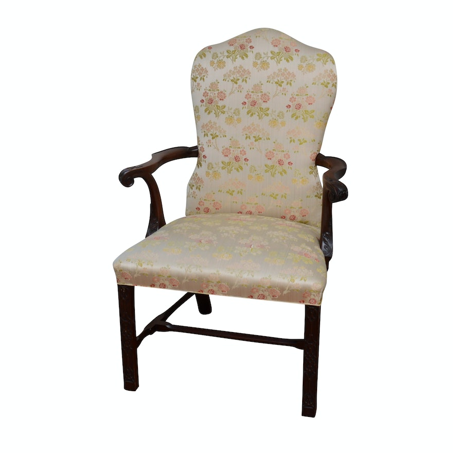 Mahogany Side Chair with Upholstered Cushions, Late 20th Century