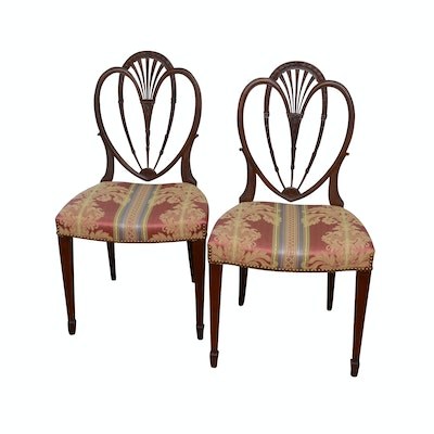 Pair of Wooden Shield Back Side Chairs with Upholstered Seats, Contemporary