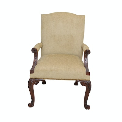 Upholstered Armchair with Carved Cherry Frame, Contemporary