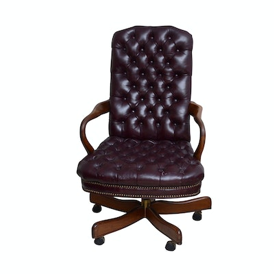 """Leather """"Chesterfield"""" Swivel/Rocker Office Chair, Contemporary"""
