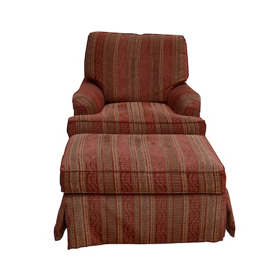 Century Upholstered Armchair and Ottoman, Contemporary