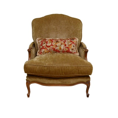 Century Upholstered Wooden Armchair, Contemporary