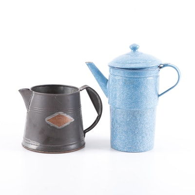 Elite Graniteware and Cobbs Boston Tea Co. Tin and Copper Coffee Pots