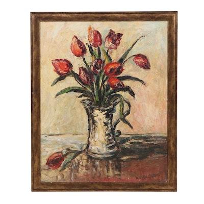 Allda-Eugen de Bruycker Floral Still Life Oil Painting