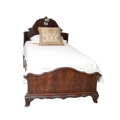 Carved Cherry Twin Bed, Mid-20th Century